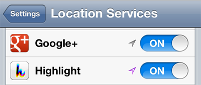 Location Services Purple Arrow Disable Social Discovery App