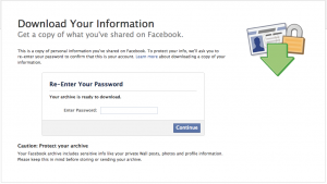 FB Download Personal Data
