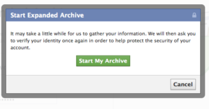 Facebook Start My Archive - Enhanced Archive