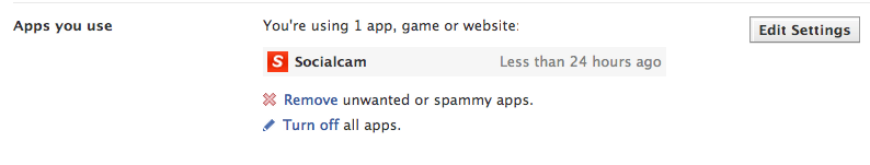 Facebook Socialcam Removal