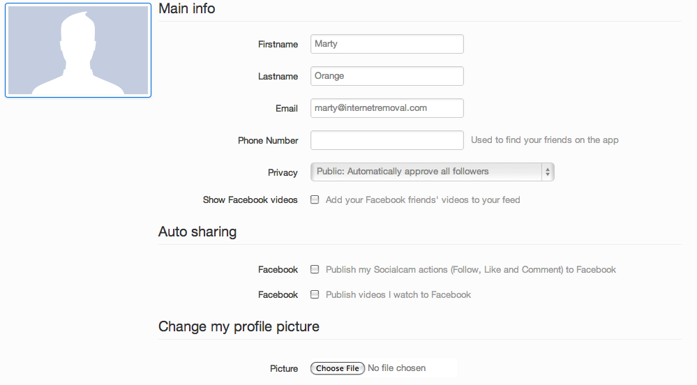 Disable Socialcam Autosharing
