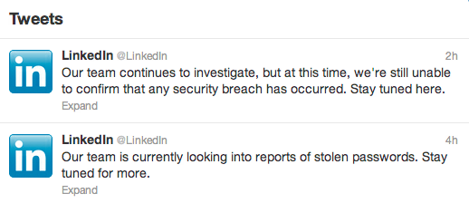 LinkedIn Twitter, Mass Compromise Linkedin, LinkedIn Password compromise