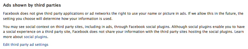 Ads shown by third parties - facebook settings
