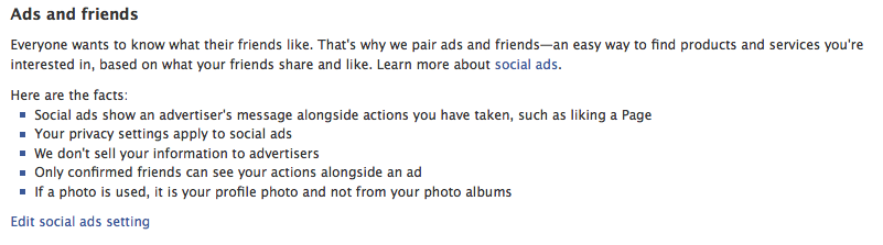 Ads and Friends, Social Ads Setting