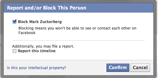 Confirm Block Facebook