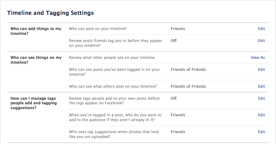 Facebook Timeline and Tagging Privacy Settings, Randi Zuckerberg