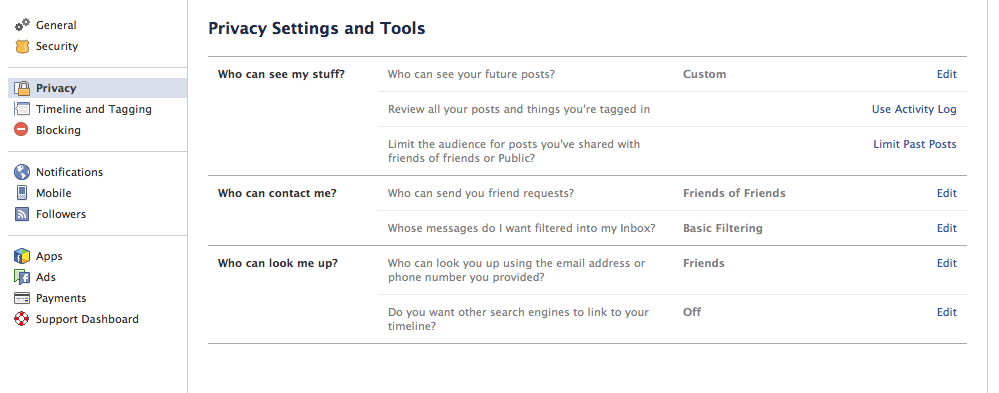 Facebook Recommended Privacy Settings